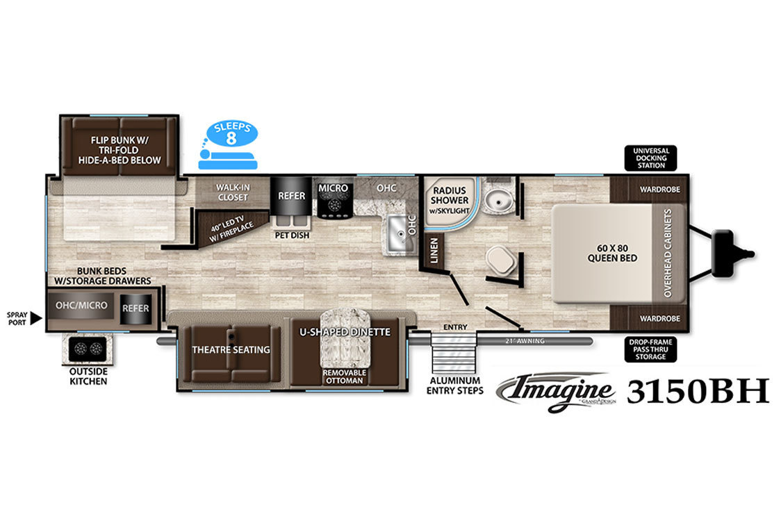 2017 Grand Design Imagine 3150BH Floorplan