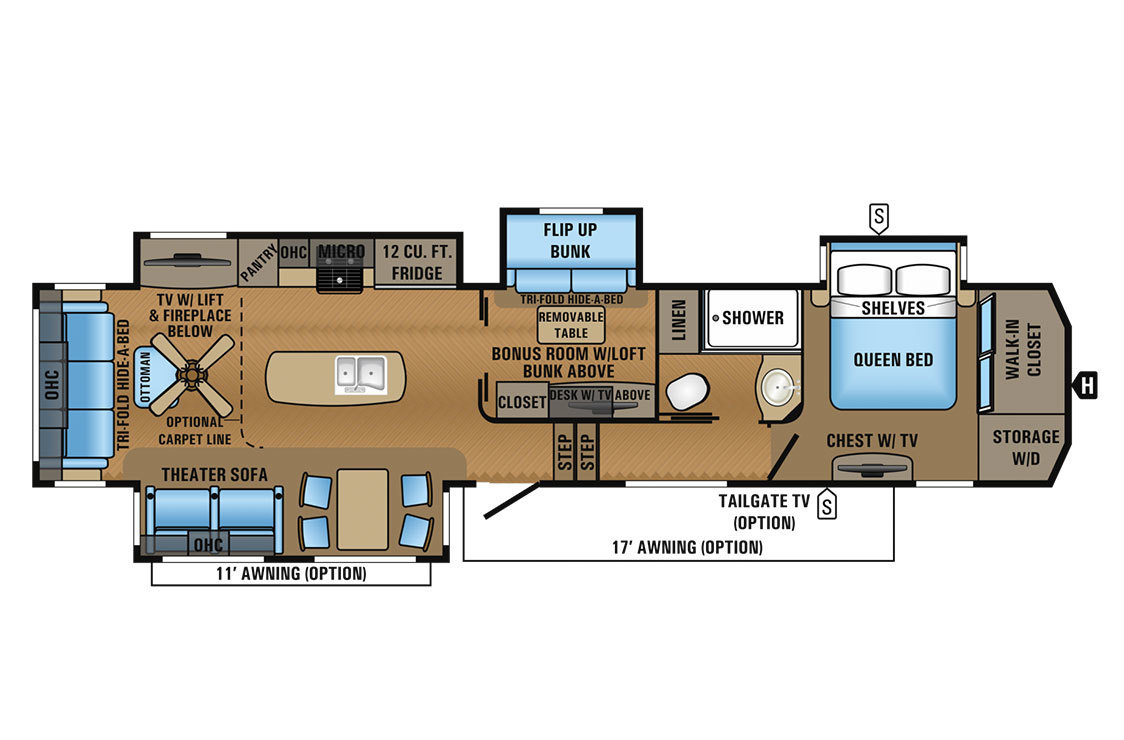 2017 Jayco North Point 377RLBH Floorplan