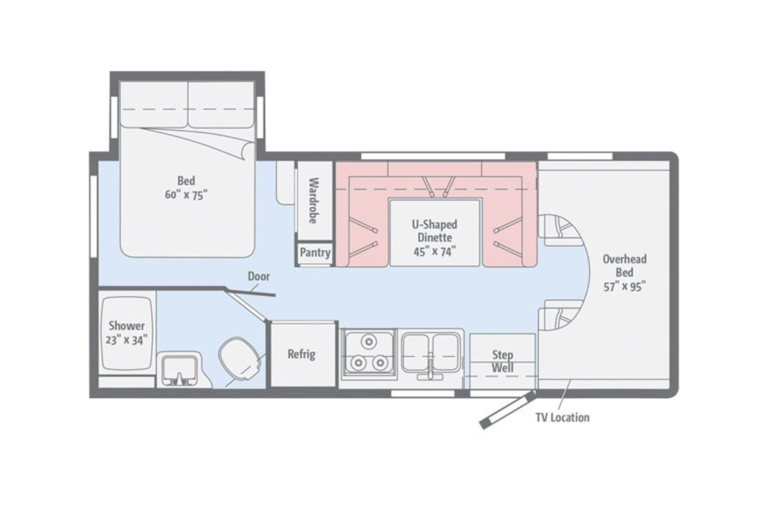 2018 Winnebago Spirit 26A Floorplan