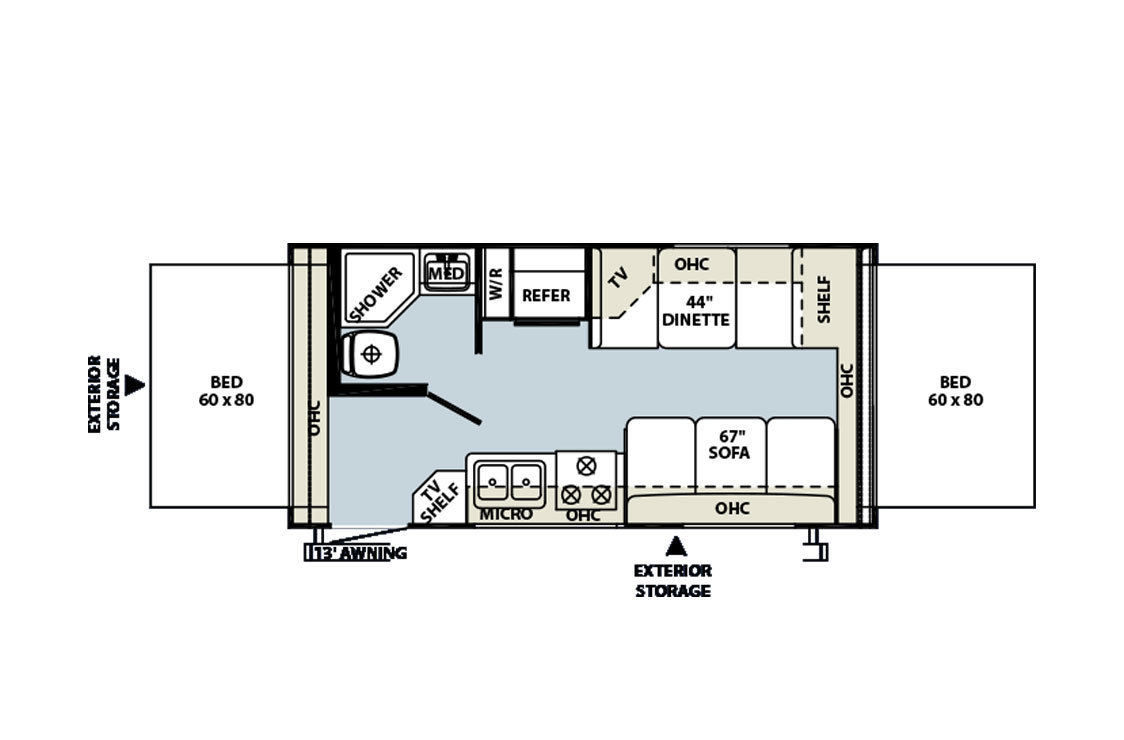 2014 Jayco  Jay Feather 16XRB Floorplan