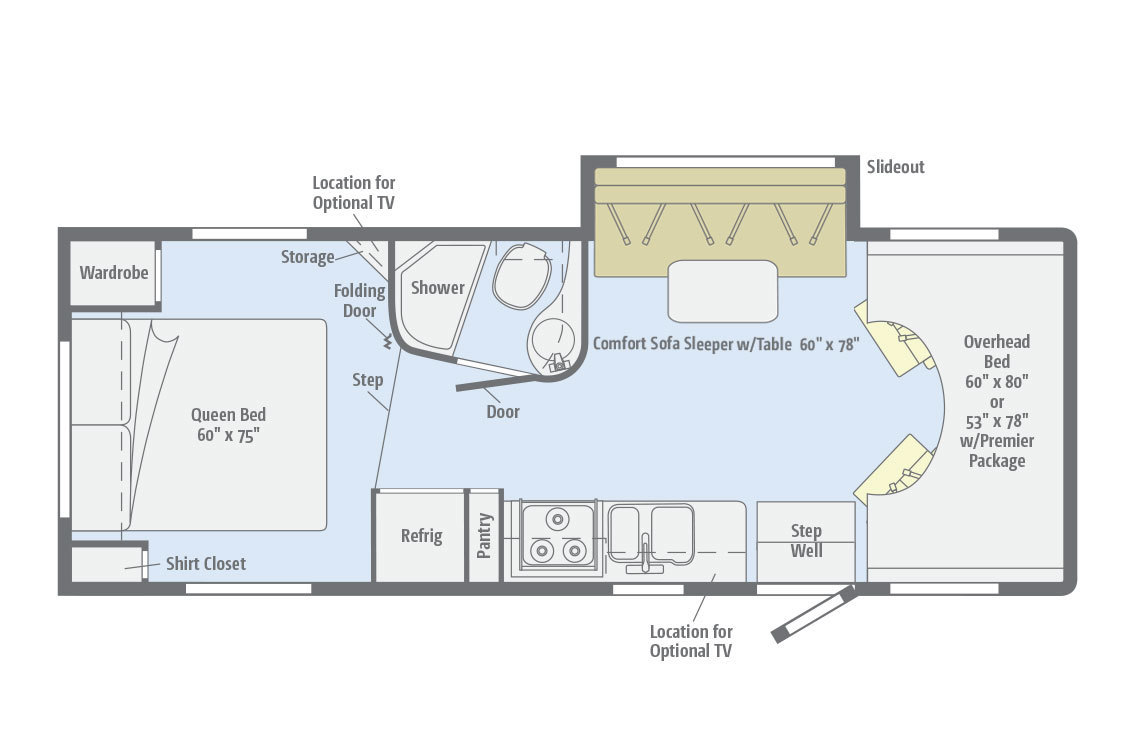 2012 Winnebago Access Premier 26QP Floorplan