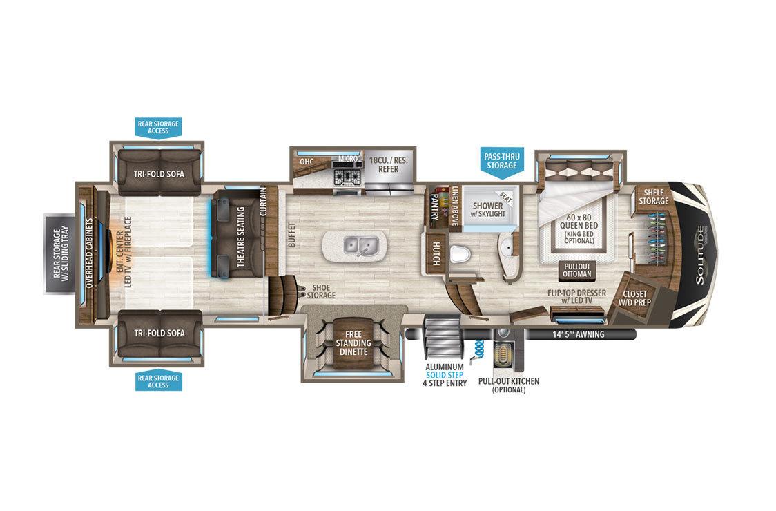 2018 Grand Design Solitude 375RES Floorplan