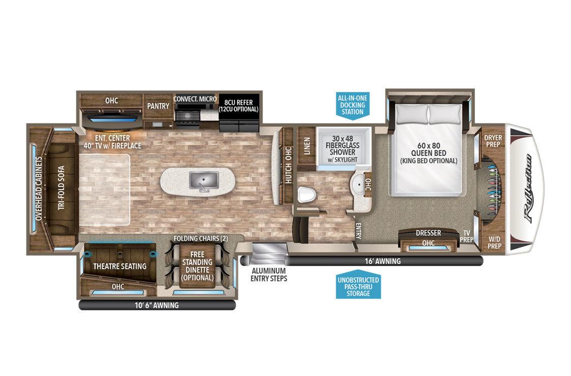 2018 Grand Design Reflection 337RLS Floorplan