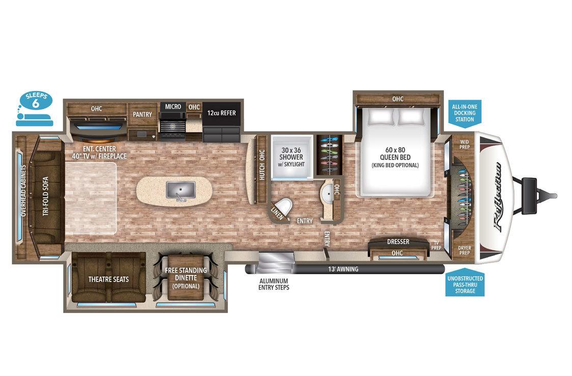 2018 Grand Design Reflection 315RLTS Floorplan
