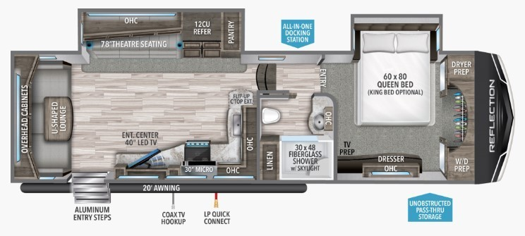 2021 Grand Design Reflection 310RLS Floorplan
