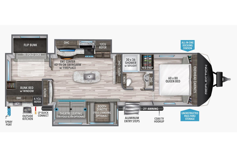 2021 Grand Design Reflection 312BHTS Floorplan