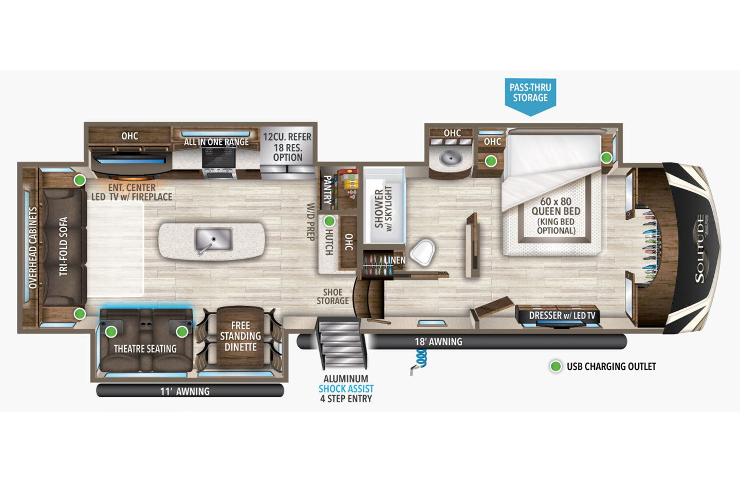 2021 Grand Design Solitude S-Class 3540GK Floorplan