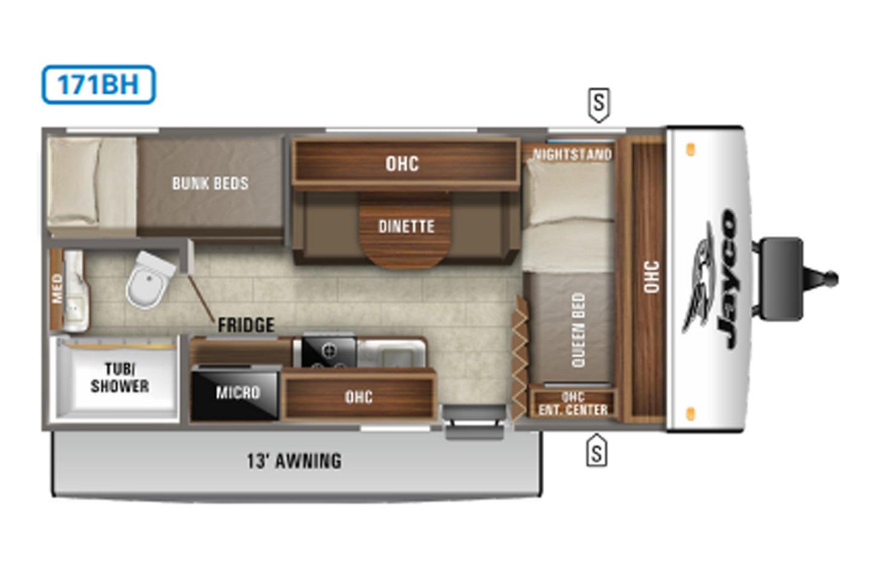 2021 Jayco Jay Feather Micro 171BH Floorplan