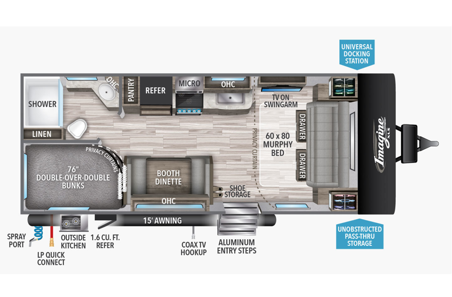 2021 Grand Design Imagine XLS 21BHE Floorplan