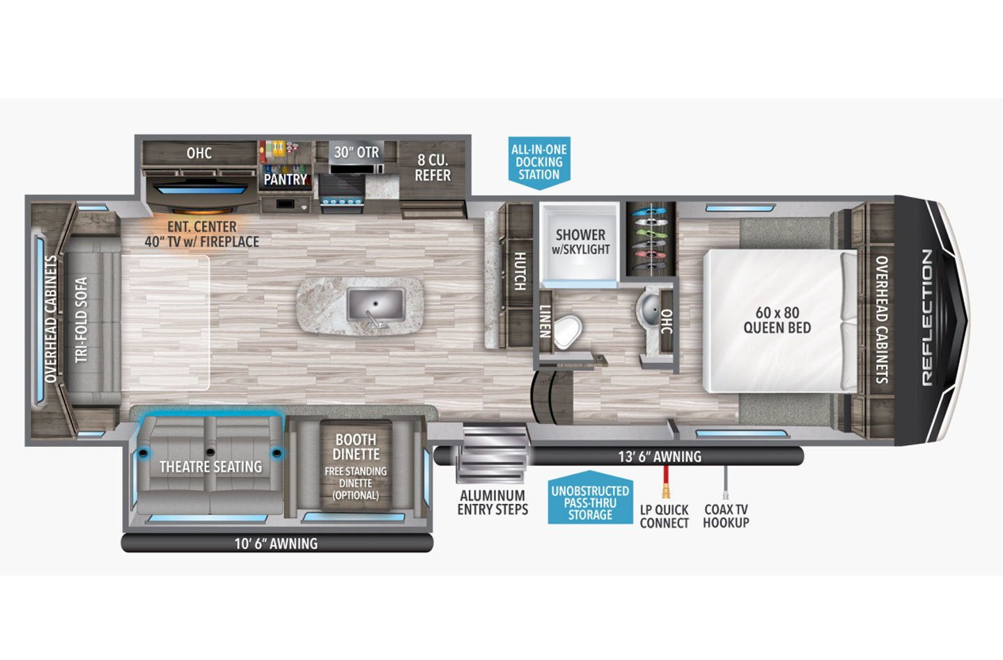 2021 Grand Design Reflection 303RLS Floorplan
