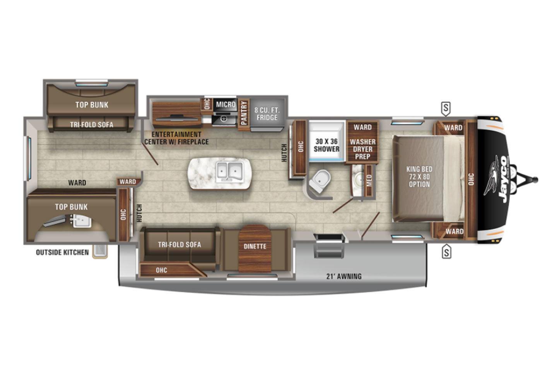 2022 Jayco Eagle HT 312BHOK Floorplan