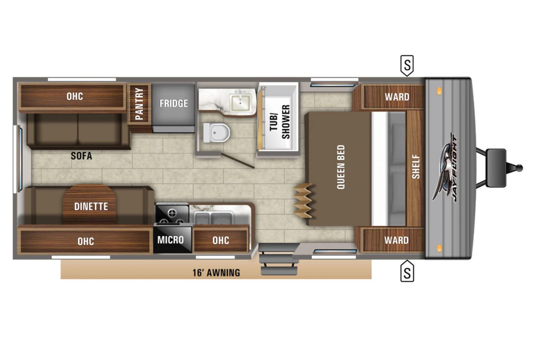 2021 KZ Escape E181RB OFF GRID Floorplan