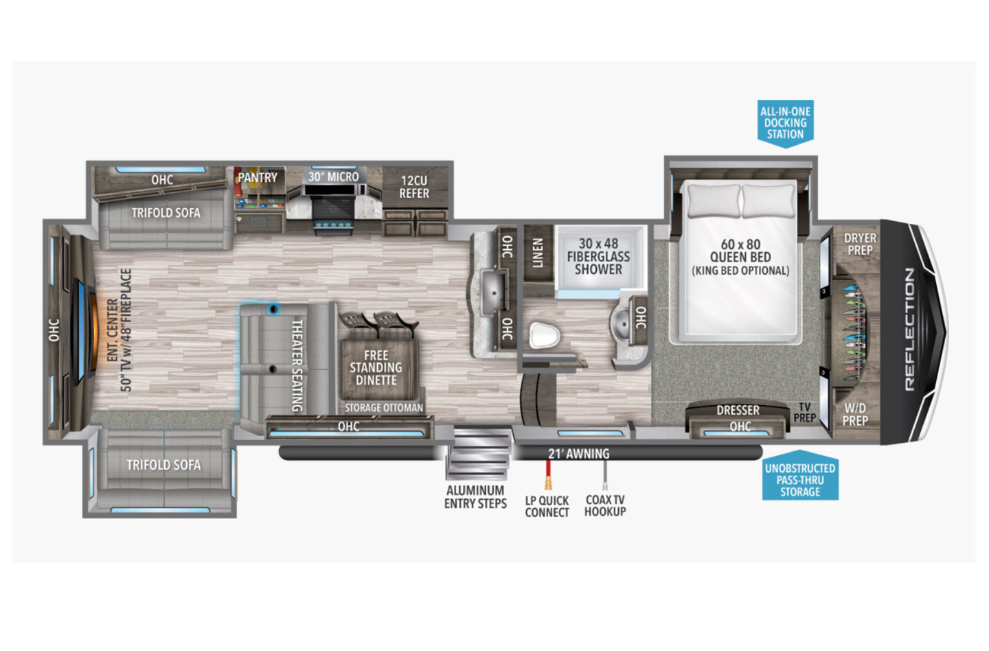 2021 Grand Design Reflection 340RDS Floorplan