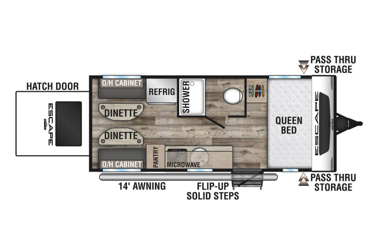 2021 KZ Escape E17 Hatch OFF GRID Floorplan