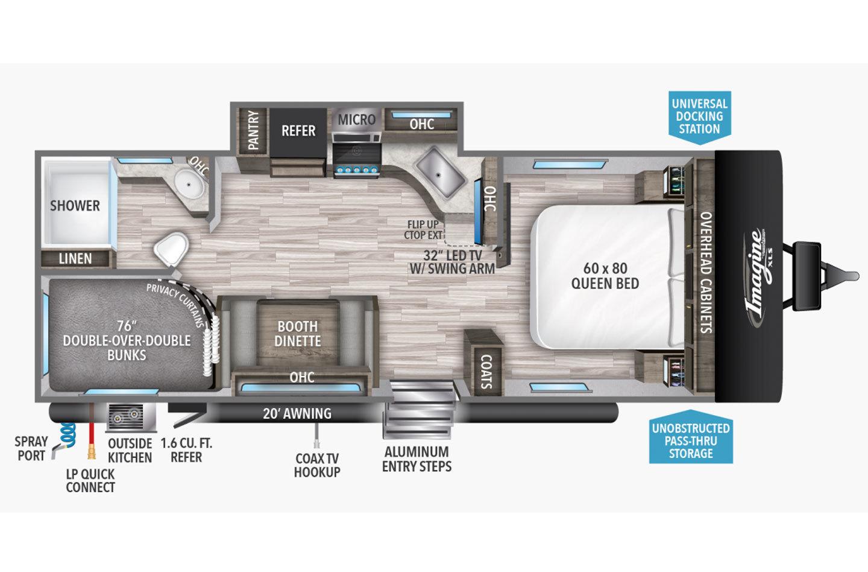 2021 Grand Design Imagine XLS 23BHE Floorplan