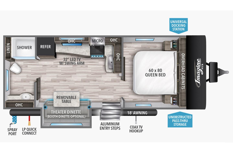 2021 Grand Design Imagine XLS 22RBE Floorplan