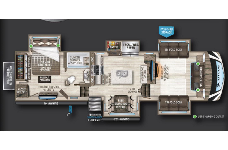 2021 Grand Design Solitude 346FLS Floorplan