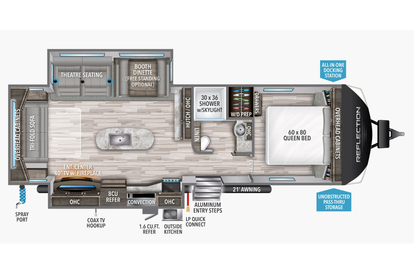 2021 Grand Design Reflection 297RSTS Floorplan