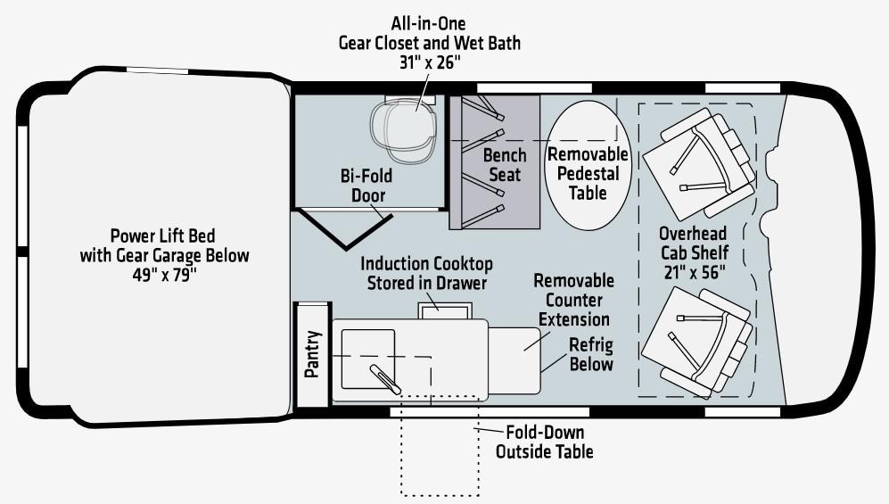 2021 Winnebago Revel 44E Floorplan