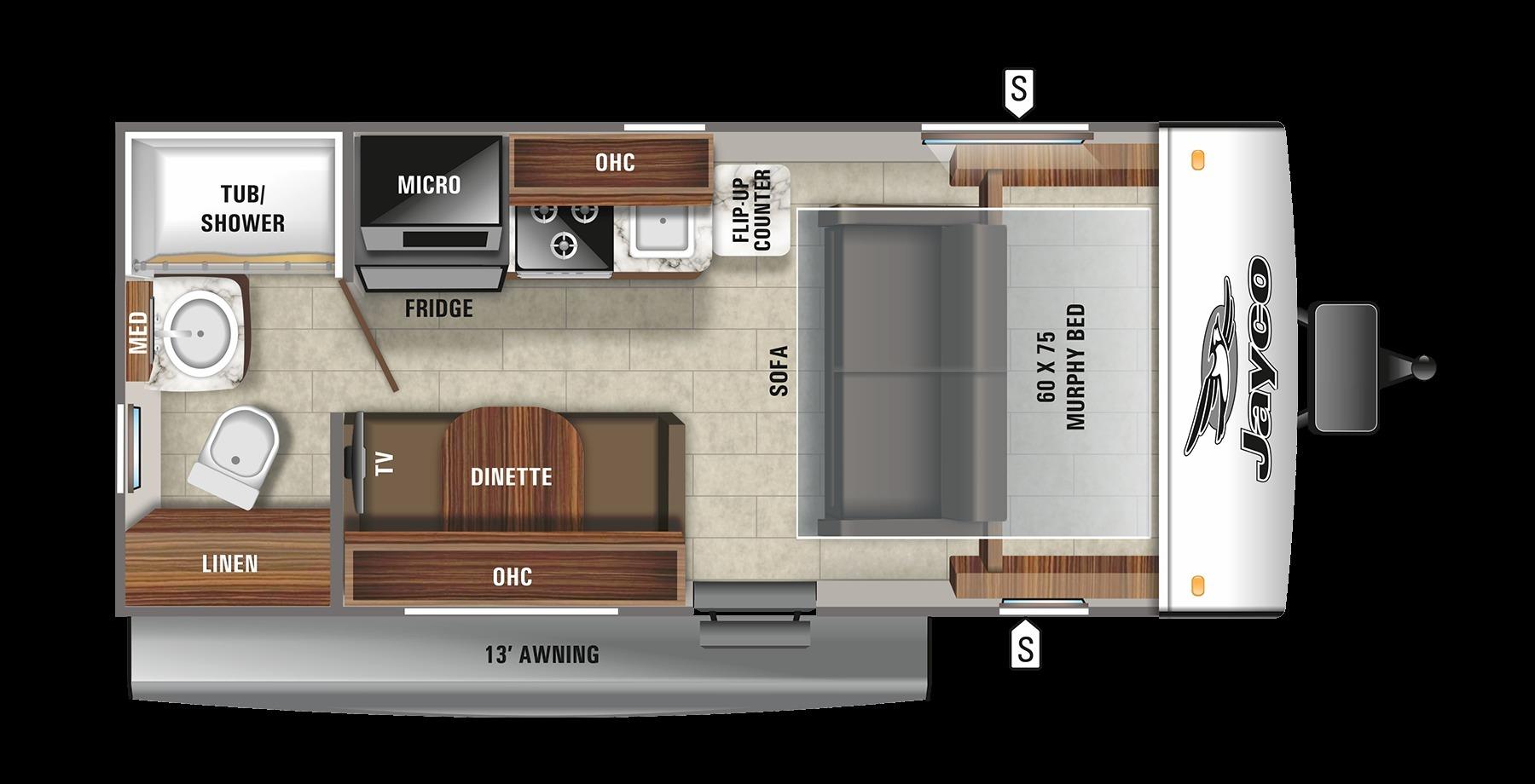 2021 Jayco Jay Feather Micro 173MRB Floorplan