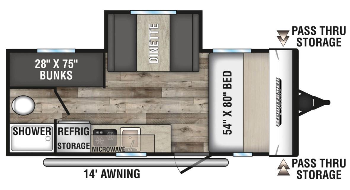 2021 KZ Sportsmen 181BH OFF-ROAD Floorplan