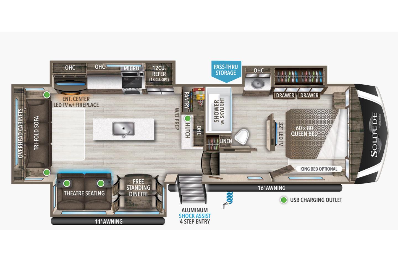 2021 Grand Design Solitude S-Class 2930RL Floorplan