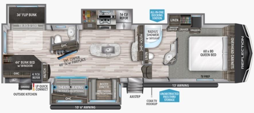 2022 Grand Design Reflection 311BHS Floorplan