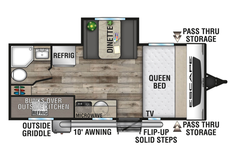 2021 KZ Escape E191BHK OFF GRID Floorplan