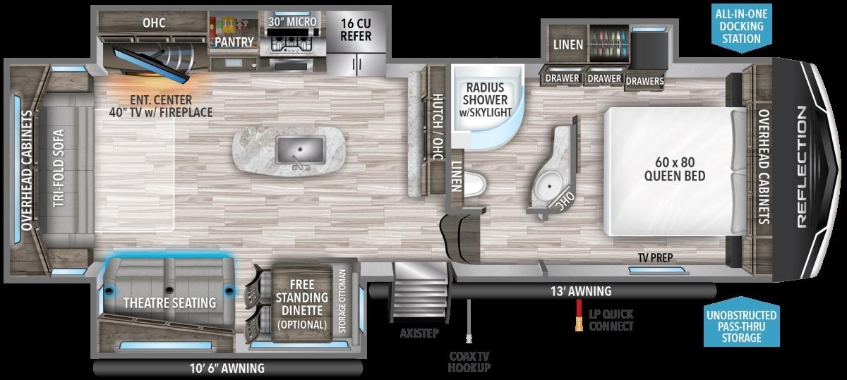 2022 Grand Design Reflection 303RLS Floorplan
