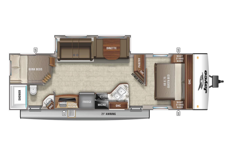 2021 Jayco Jay Feather 27BHB Floorplan