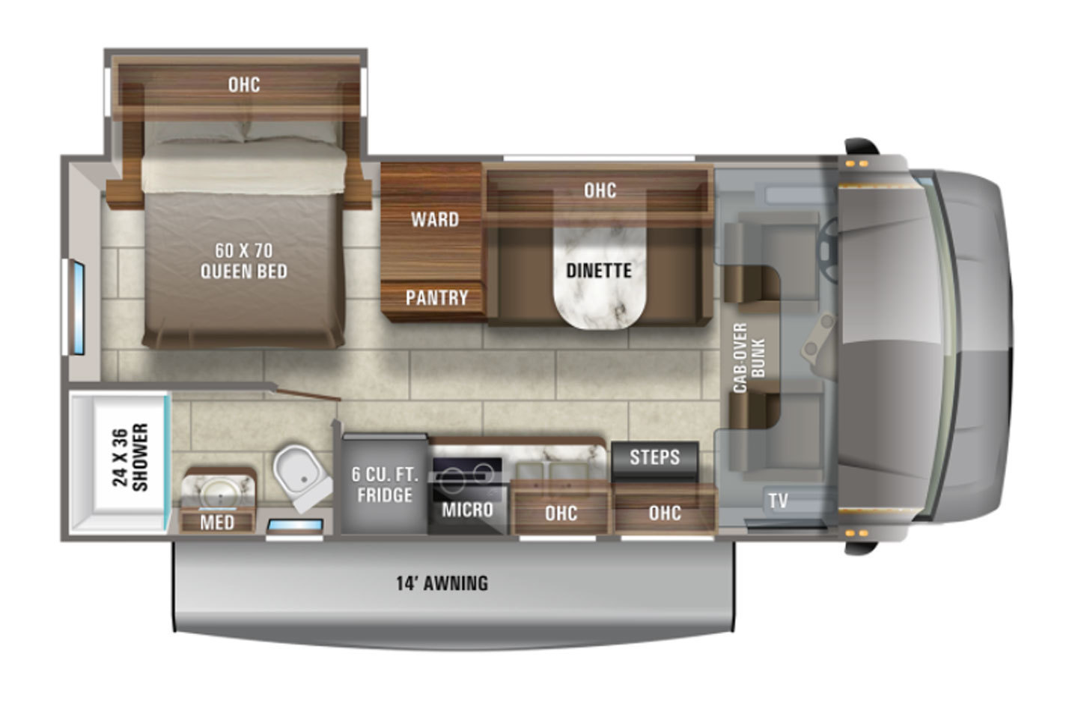 2021 Winnebago Redhawk SE 22C Floorplan