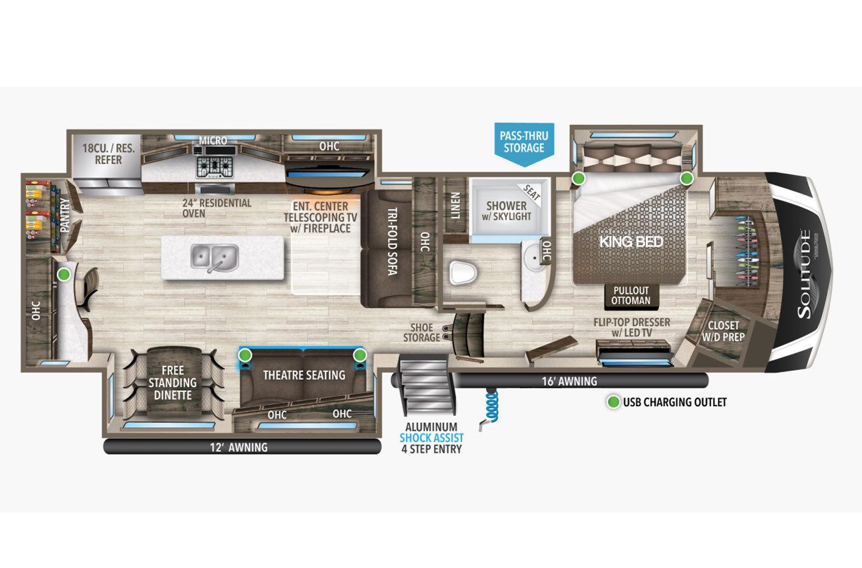 2021 Grand Design Solitude 345GK Floorplan
