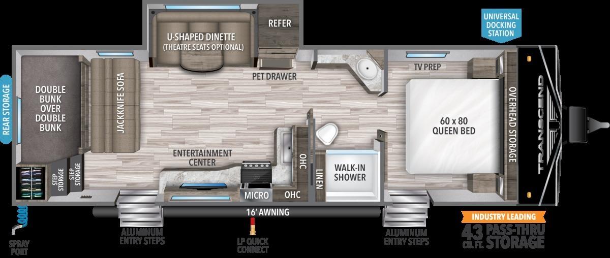 2022 Grand Design Transcend Xplor 265BH Floorplan