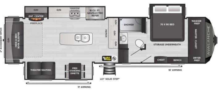 2021 Keystone Avalanche 322RL  Floorplan