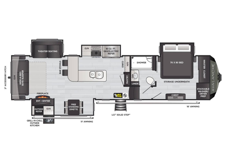 2022 Keystone Avalanche 338GK Floorplan