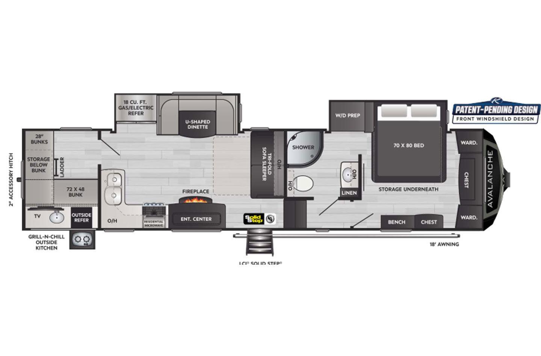 2021 Keystone Avalanche 352BH Floorplan