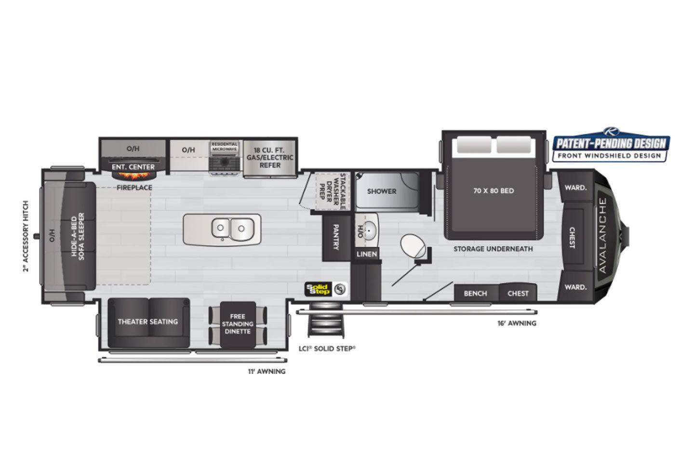 2022 Keystone Avalanche 312RS Floorplan