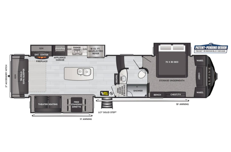 2021 Keystone Alpine 3650RL Floorplan