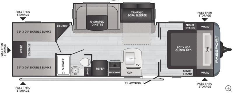 2022 Keystone Passport SL 282QB Floorplan
