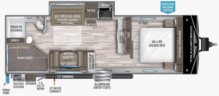 2022 Grand Design Transcend Xplor 261BH Floorplan