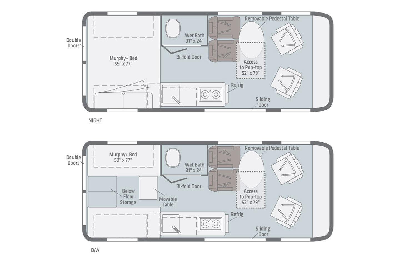 2022 Winnebago Solis 59P Pop-Top Floorplan