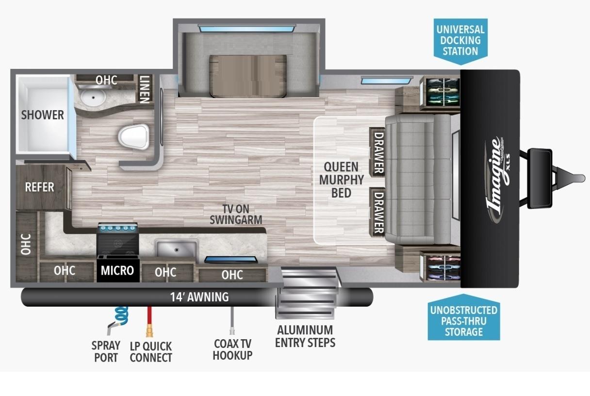 2022 Grand Design Imagine XLS 17MKE Floorplan