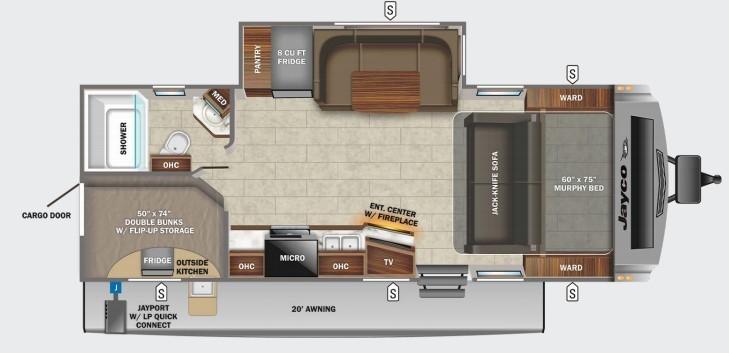 2022 Jayco White Hawk 25MBH Floorplan