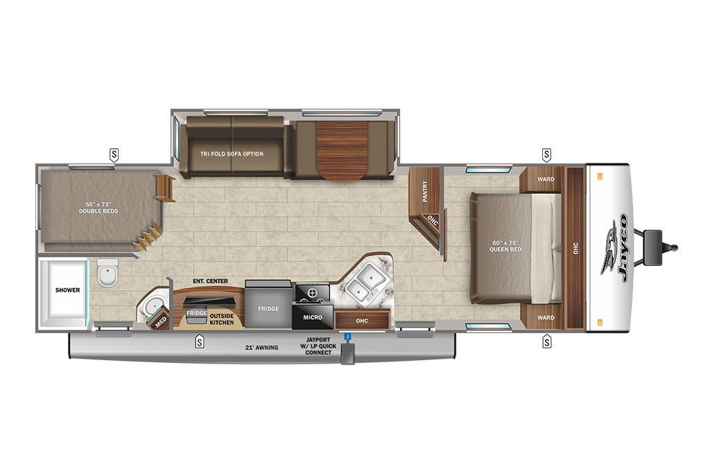 2022 Jayco Jay Feather 27BHB Floorplan