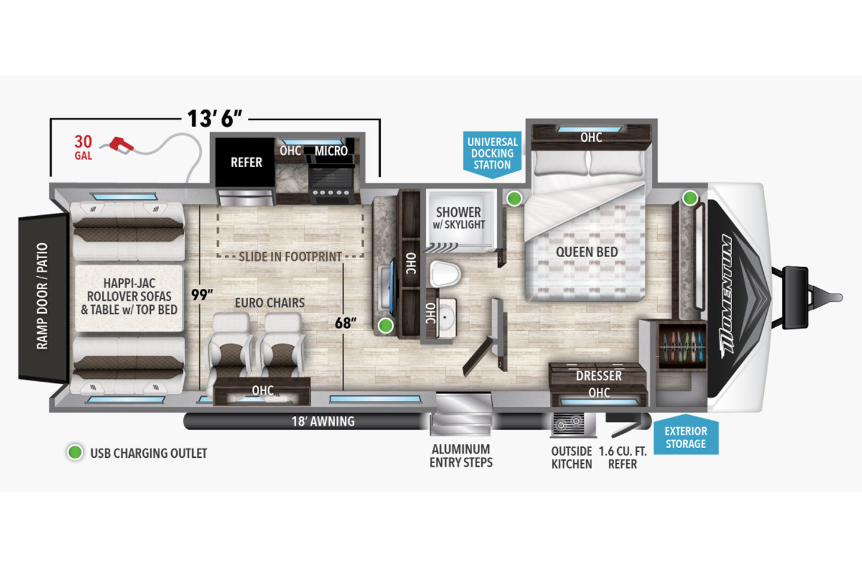 2021 Grand Design Momentum G-Class 25G Floorplan