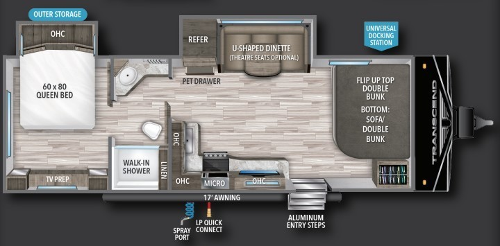 2022 Grand Design Transcend Xplor 251BH Floorplan