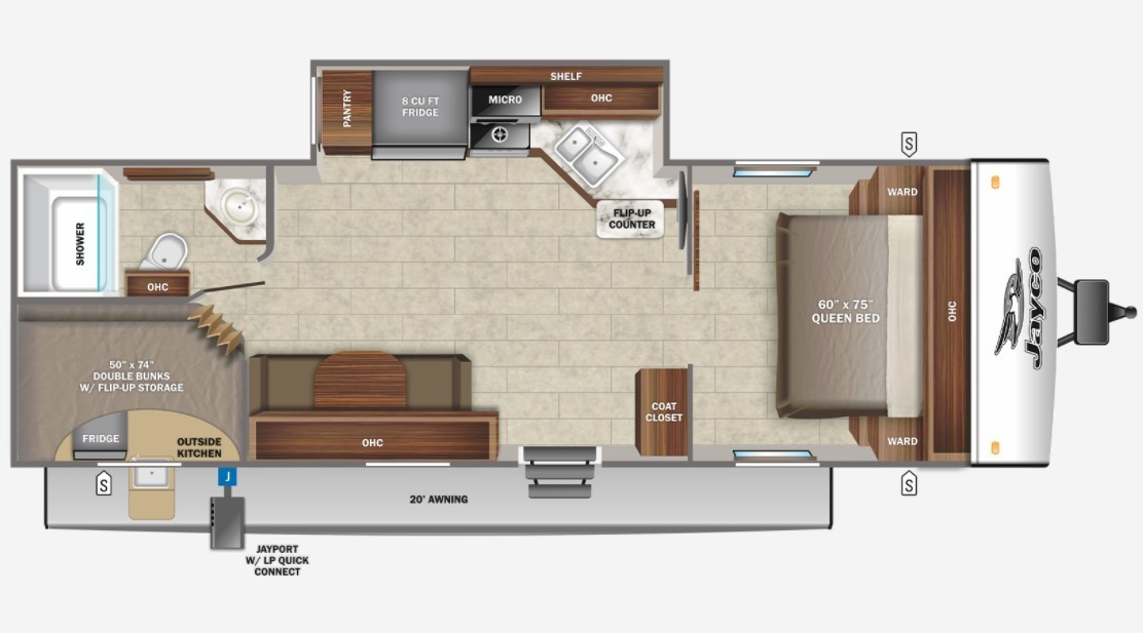 2022 Jayco Jay Feather 22BH Floorplan