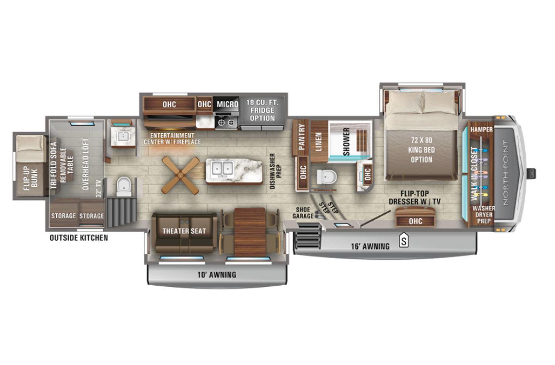 2022 Jayco North Point 373BHOK Floorplan