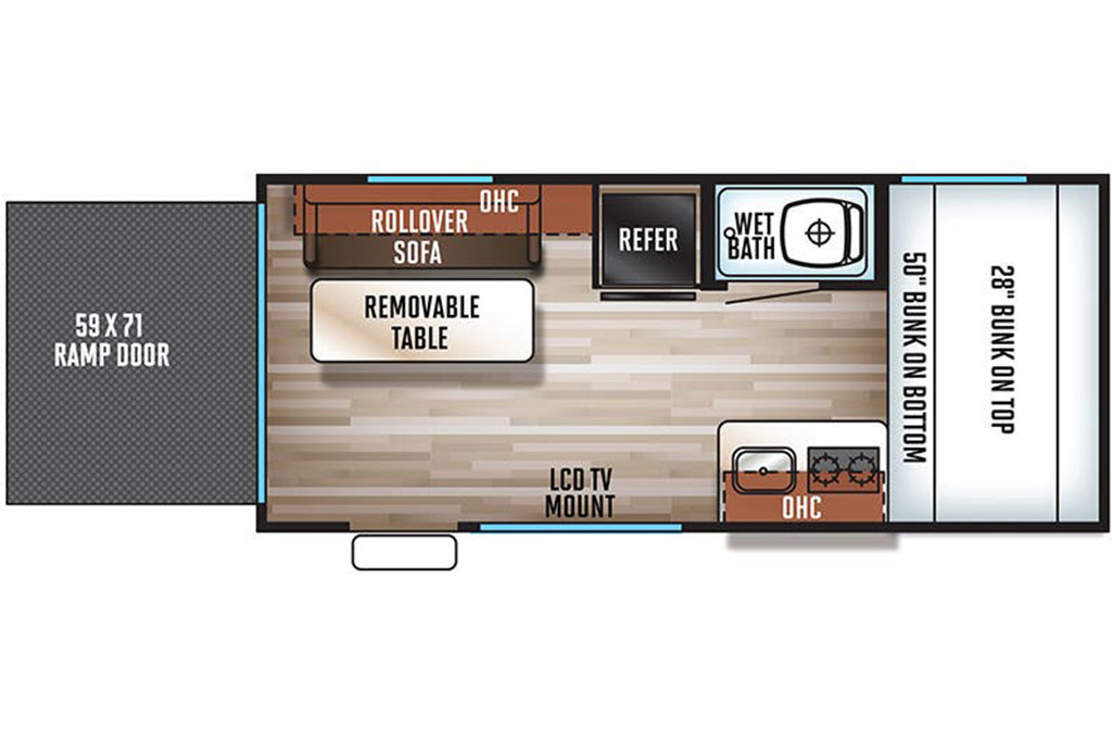 2020 Forest River  Wolf Pup R17RP Floorplan