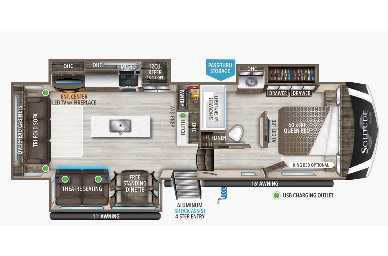 2022 Grand Design Solitude S-Class 2930RL Floorplan
